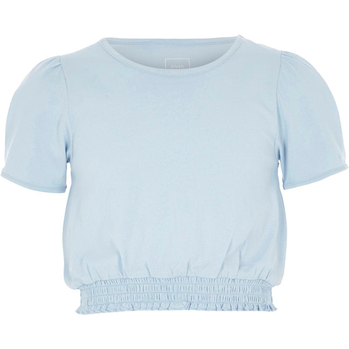 T-shirt bleu froncé à manches courtes bouffantes pour fille