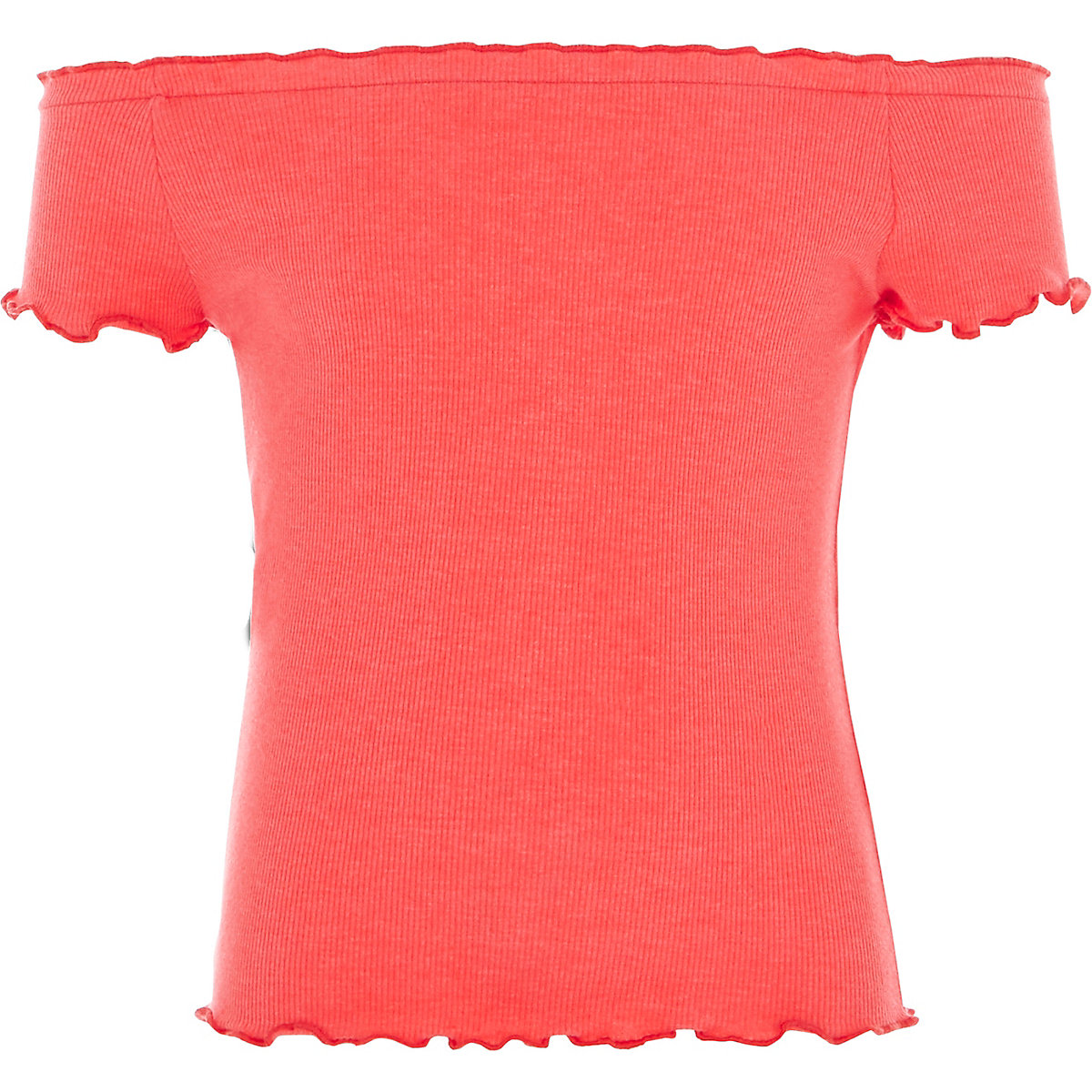 Girls coral rib frill trim bardot top