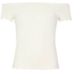 Girls cream rib frill trim bardot top