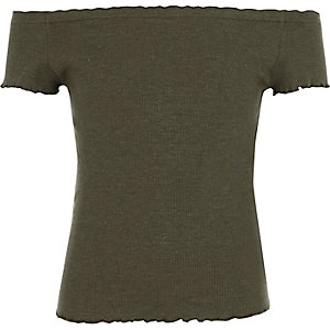 Girls khaki green ribbed bardot frill top