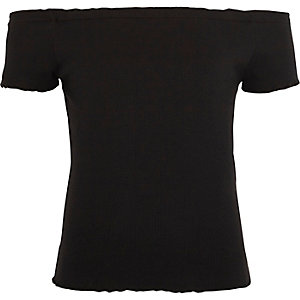 Girls black ribbed bardot neck frill top