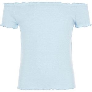 Top côtelé bleu clair avec ourlet à volant pour fille