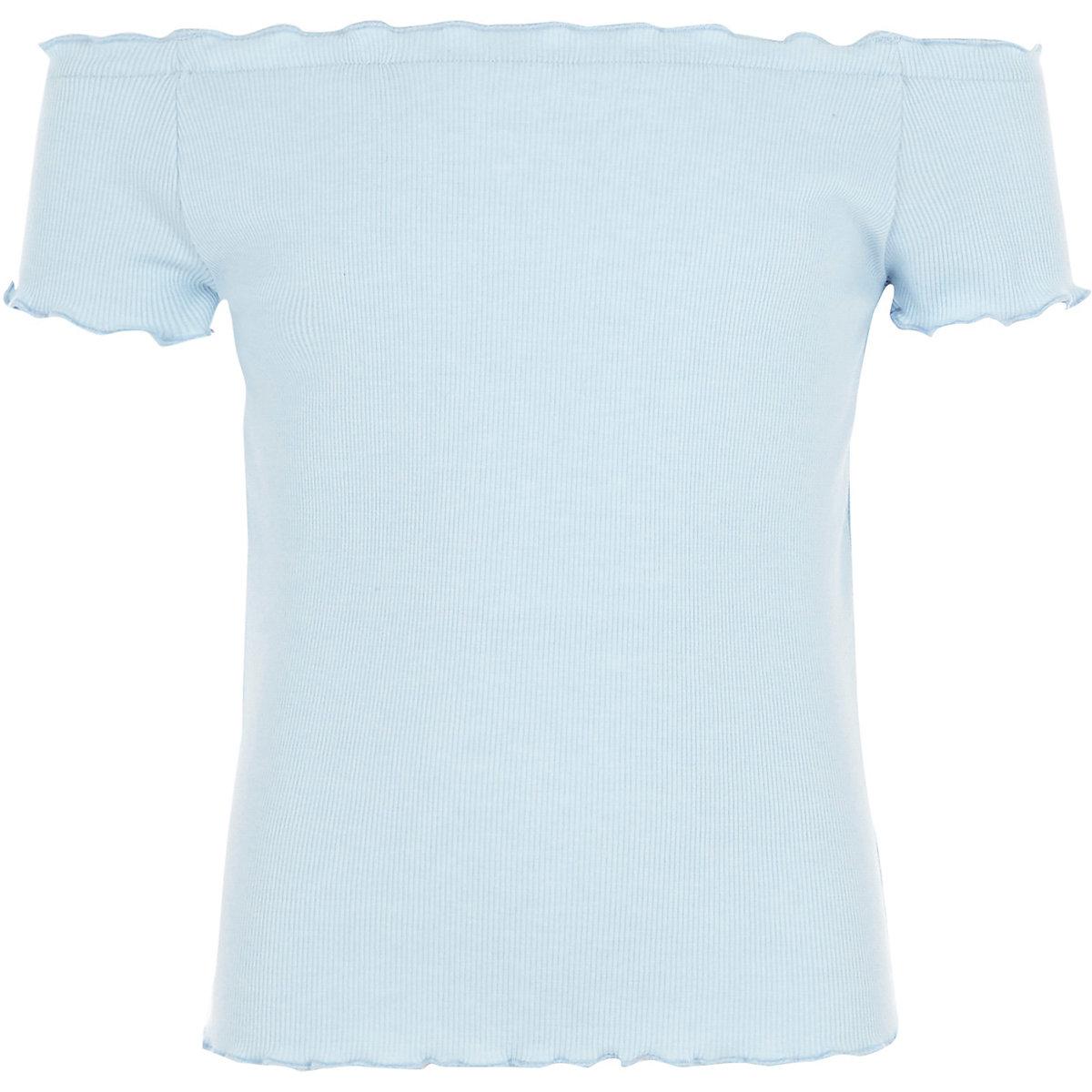 Girls light blue ribbed frill hem top
