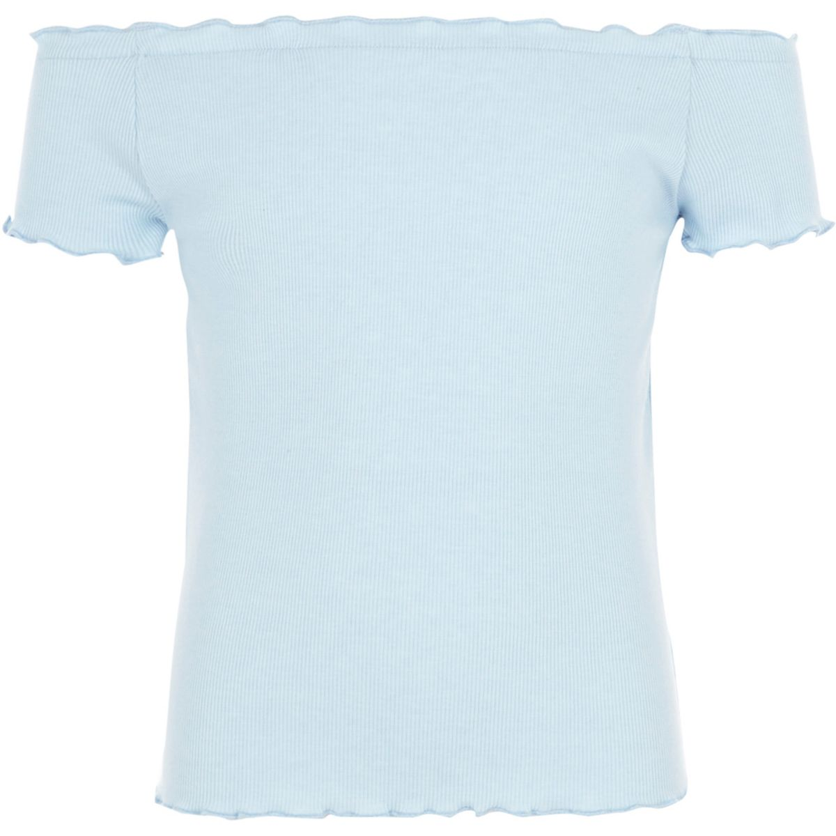 Girls light blue ribbed frill hem top