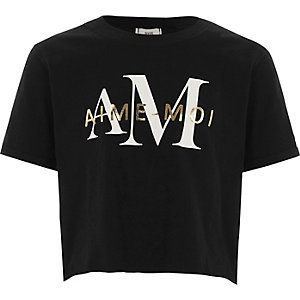Girls black 'aime-moi' cropped T-shirt