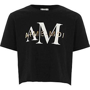 T-shirt court imprimé « aime-moi » noir pour fille