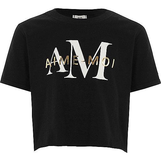 Girls black 'aime-moi' cropped T-shirt