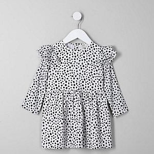 Crèmekleurige mini-jurk voor meisjes met dalmatiërprint en ruches