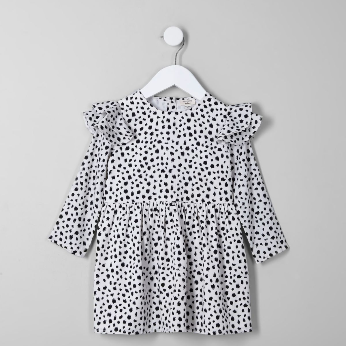 Mini girls cream dalmatian print frill dress