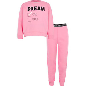 Ensemble détente avec sweat « dream » rose pour fille