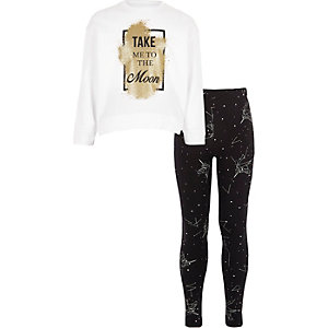 Girls white 'take me to the moon' pyjama set