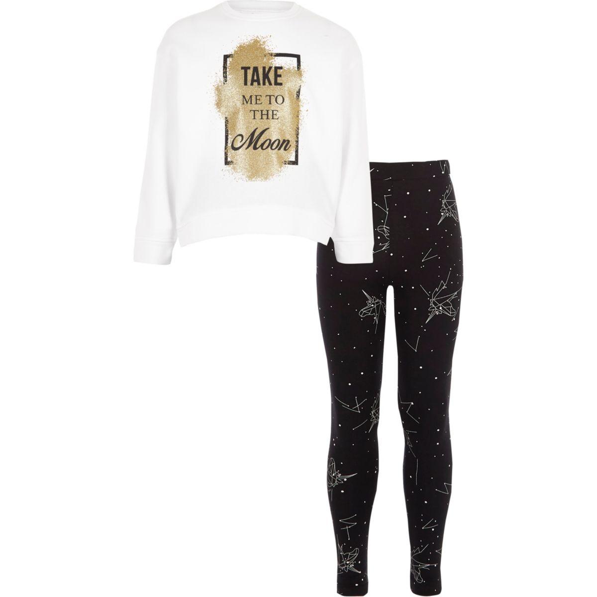 Pyjama «take me to the moon» blanc pour fille