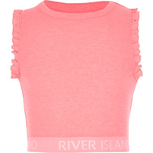 Girls bright pink frill RI hem crop top
