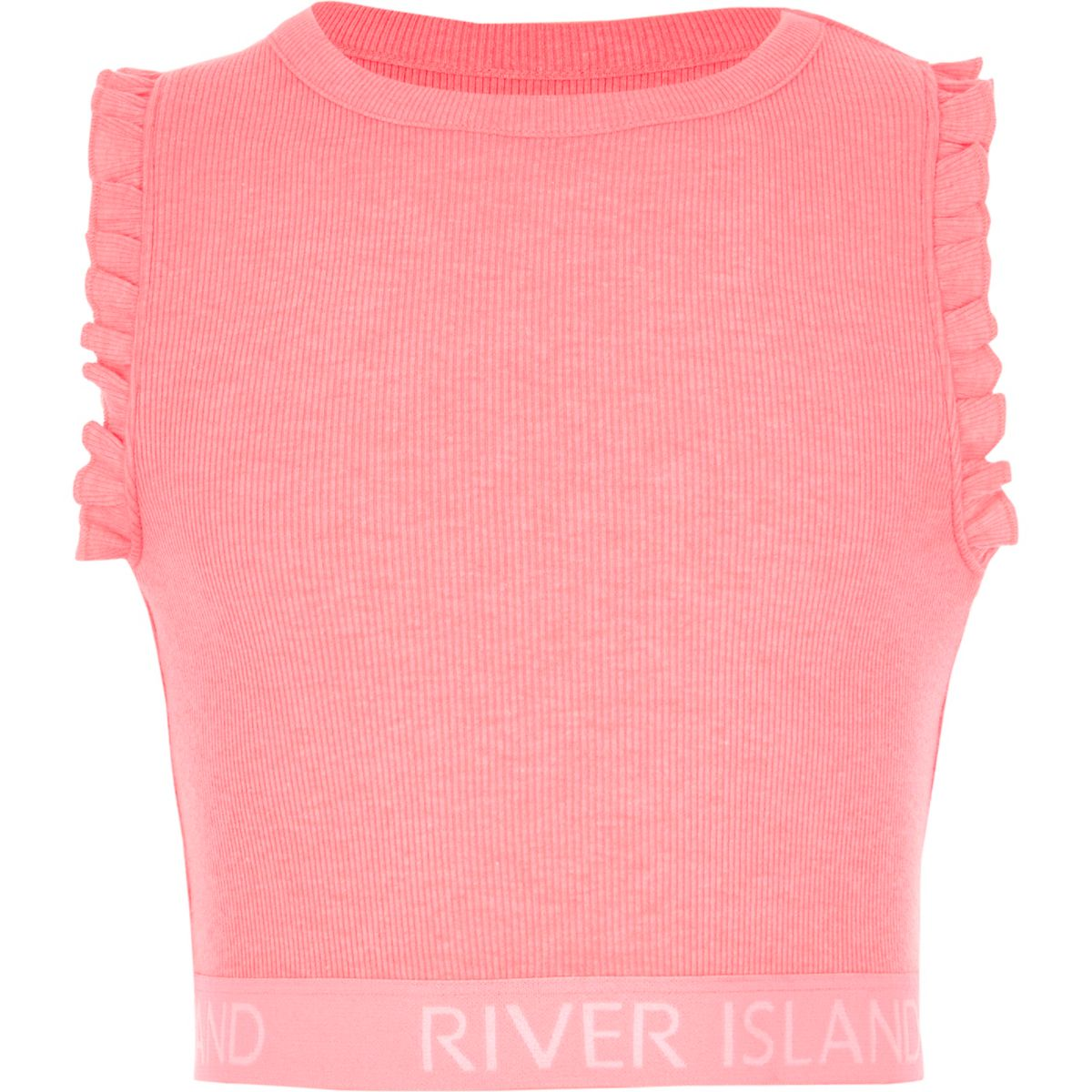 Girls bright pink frill RI hem crop top
