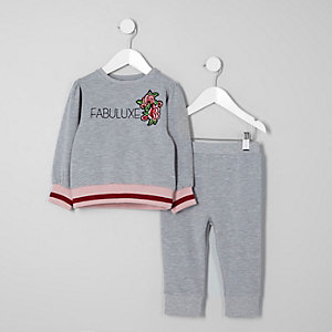 Ensemble avec sweat « fabuluxe » gris mini fille