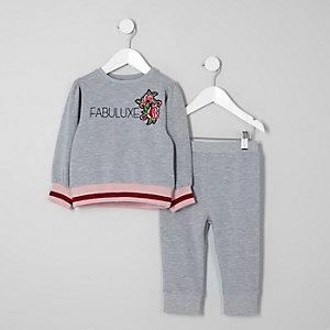 Mini - Grijze outfit met sweatshirt en 'fabuluxe'-print voor meisjes