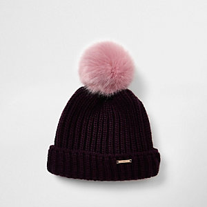 Girls dark red faux fur bobble beanie hat