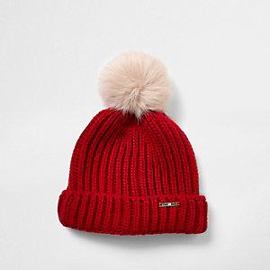 Girls red faux fur bobble beanie hat