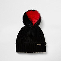Girls black faux fur heart bobble beanie hat