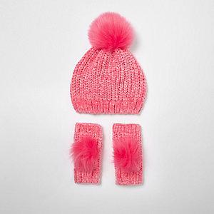Ensemble bonnet et gants en maille chenille rose pour fille