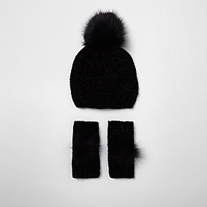 Girls black chenille knit hat and mittens set