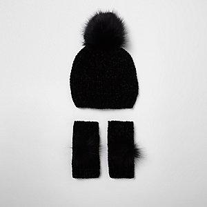 Ensemble bonnet et gants en maille chenille noirs pour fille