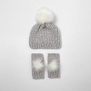 Ensemble bonnet et gants en maille chenille gris pour fille