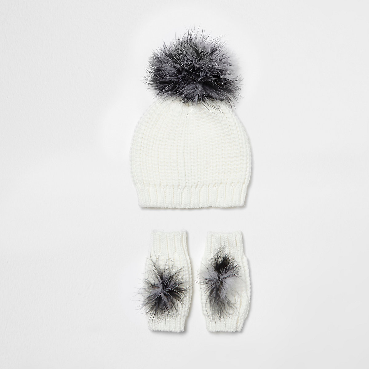 Girls cream feather knit hat and mittens set
