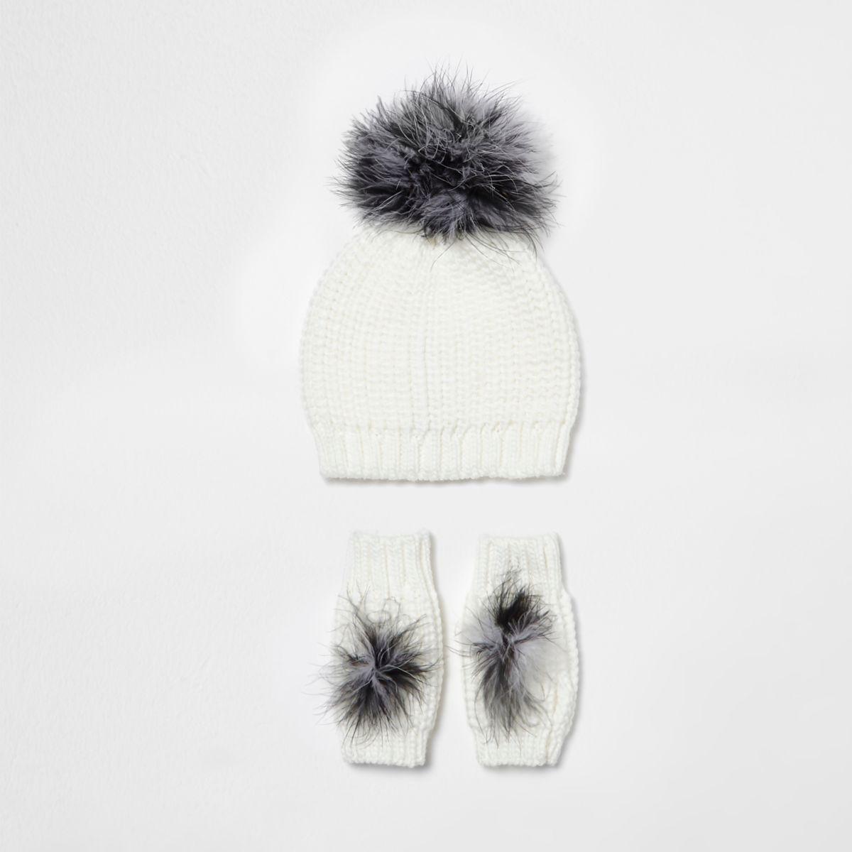 Ensemble bonnet et gants en maille crème à plumes fille