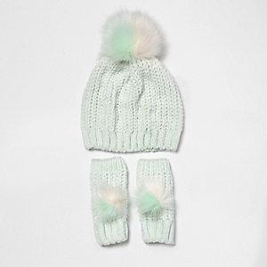 Ensemble bonnet en maille chenille vert clair à pompon pour fille