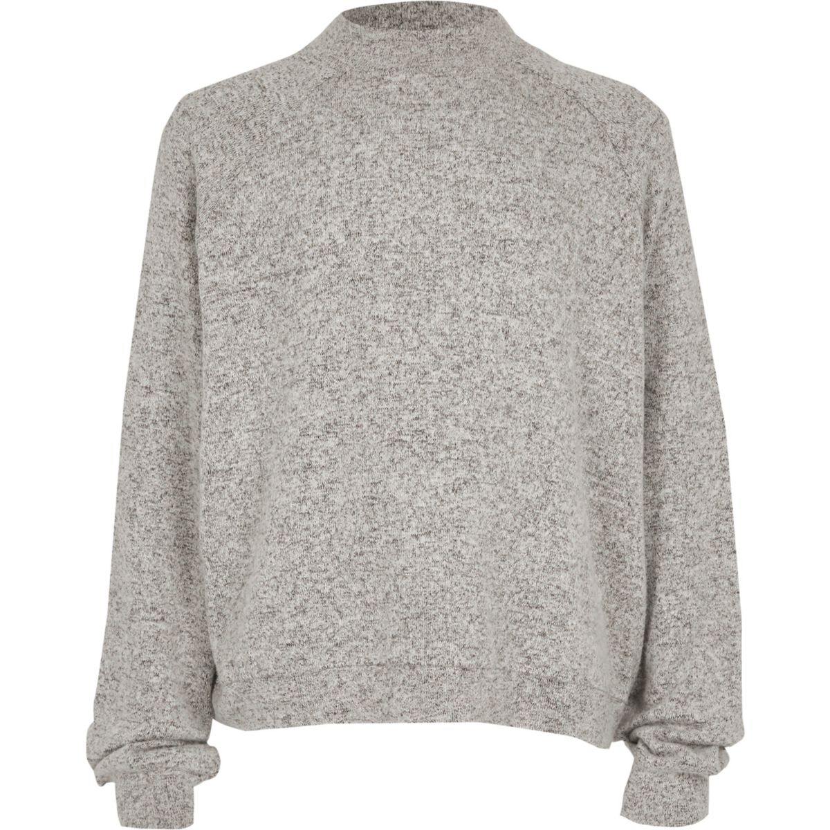 Girls grey high neck soft knit top