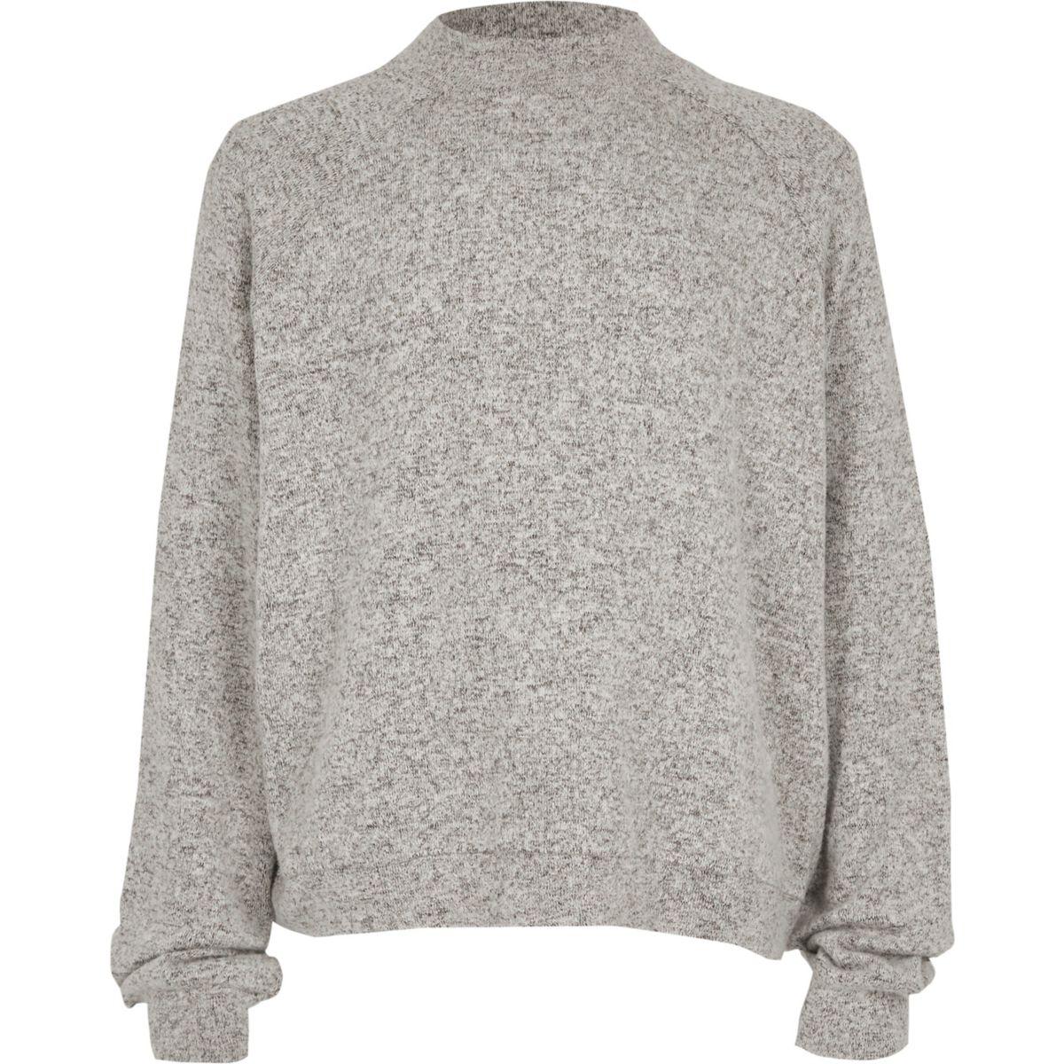 Girls grey high neck soft knit top