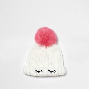 Mini - Witte beanie met pompon voor meisjes