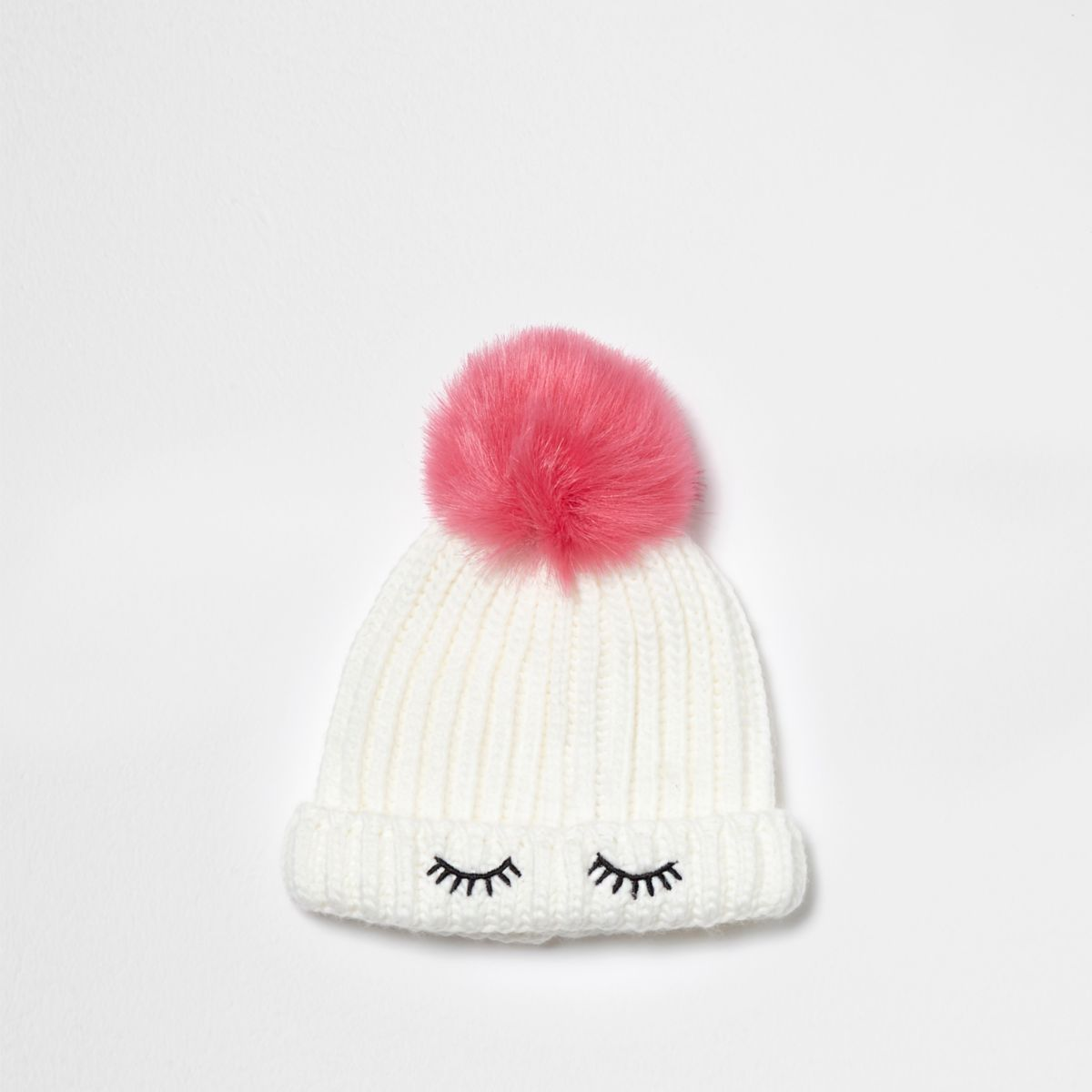 Mini girls white eyelash bobble beanie hat