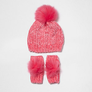 Ensemble moufles et bonnet en maille chenille rose mini fille