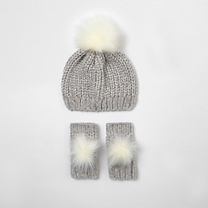 Ensemble bonnet et mitaines en maille chenille gris mini fille