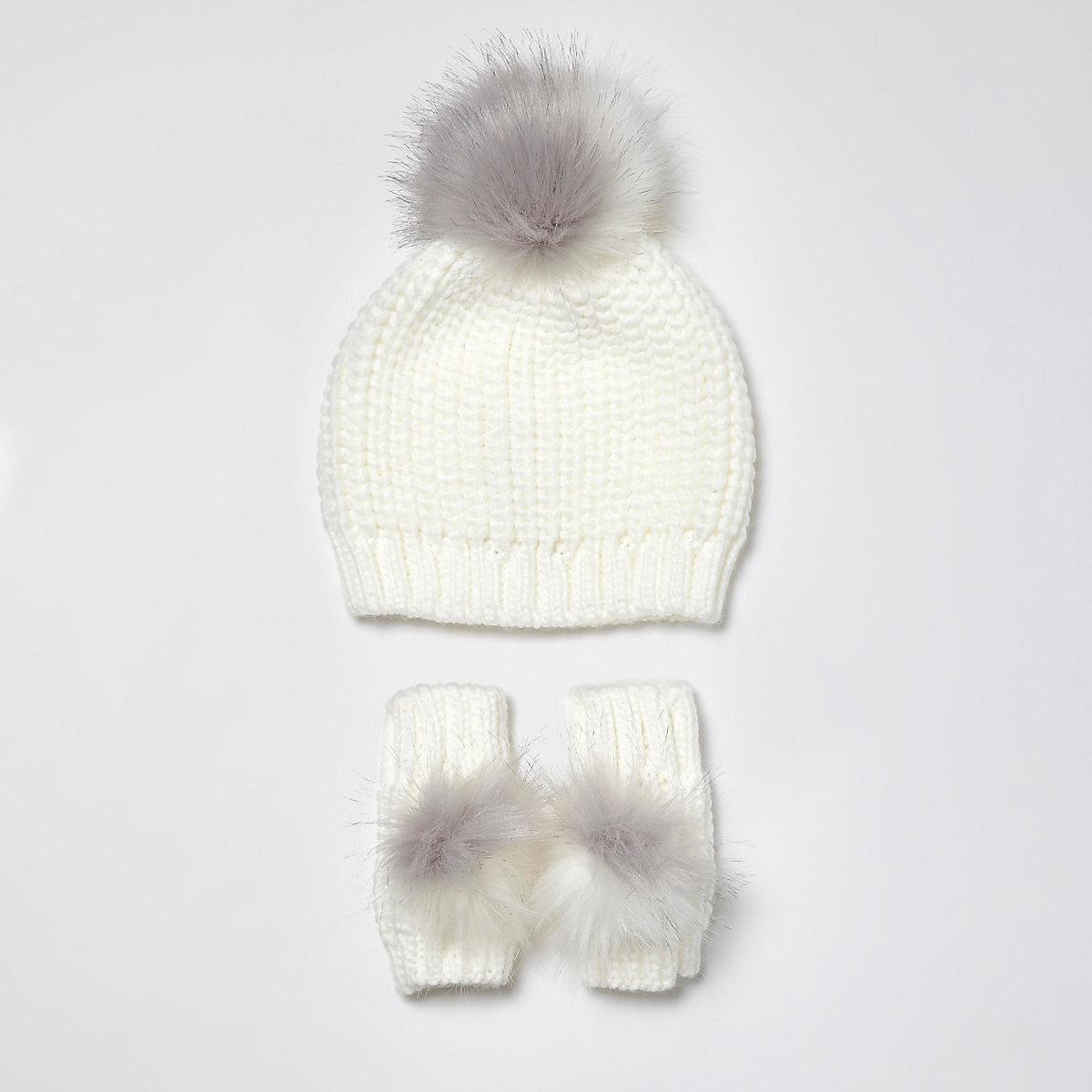 Mini girls chenille and faux fur beanie set