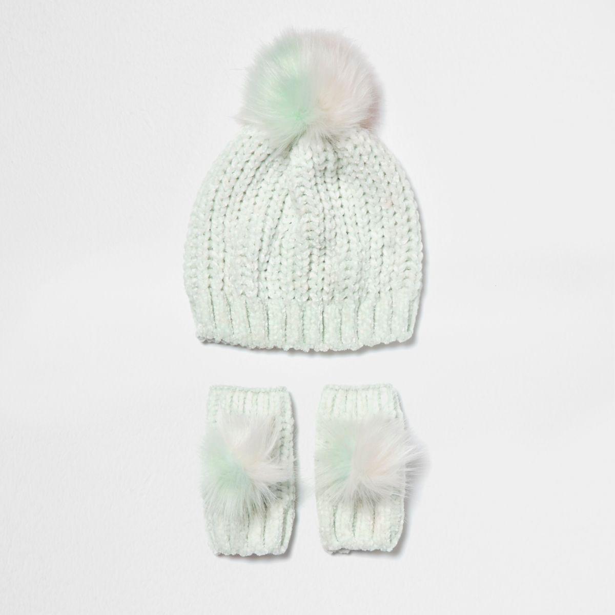 Mini – Grünes Set aus Chenille-Mütze und -Fausthandschuhen, für Mädchen