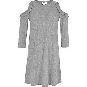 Graues Swing-Kleid mit Schulterausschnitten
