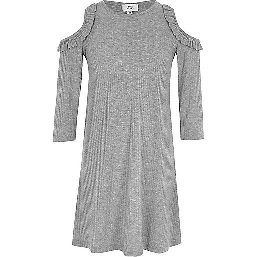 Girls grey ribbed cold shoulder swing dress