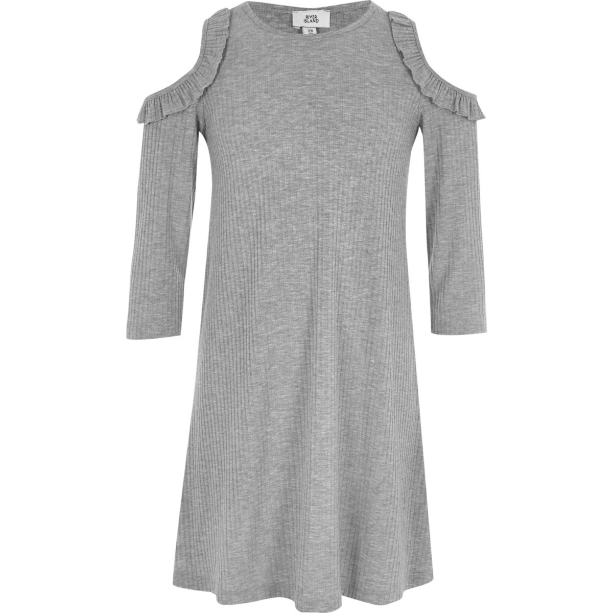 Girls grey ribbed cold shoulder swing dress