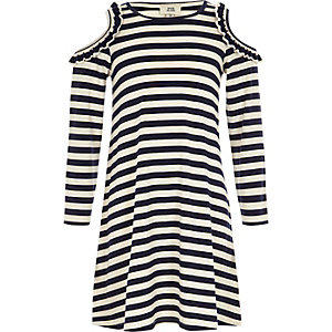Girls navy stripe cold shoulder shift dress