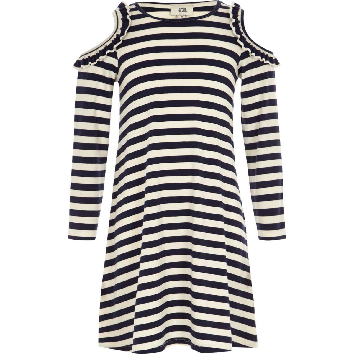 Girls navy stripe cold shoulder shift dress