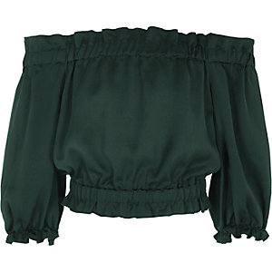 Girls dark green bardot gypsy top