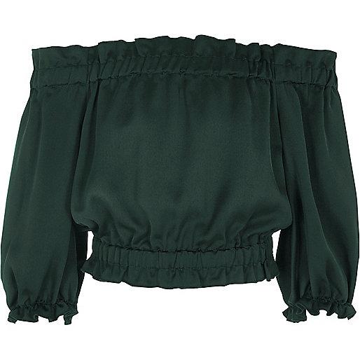 Girls dark green bardot gypsy top