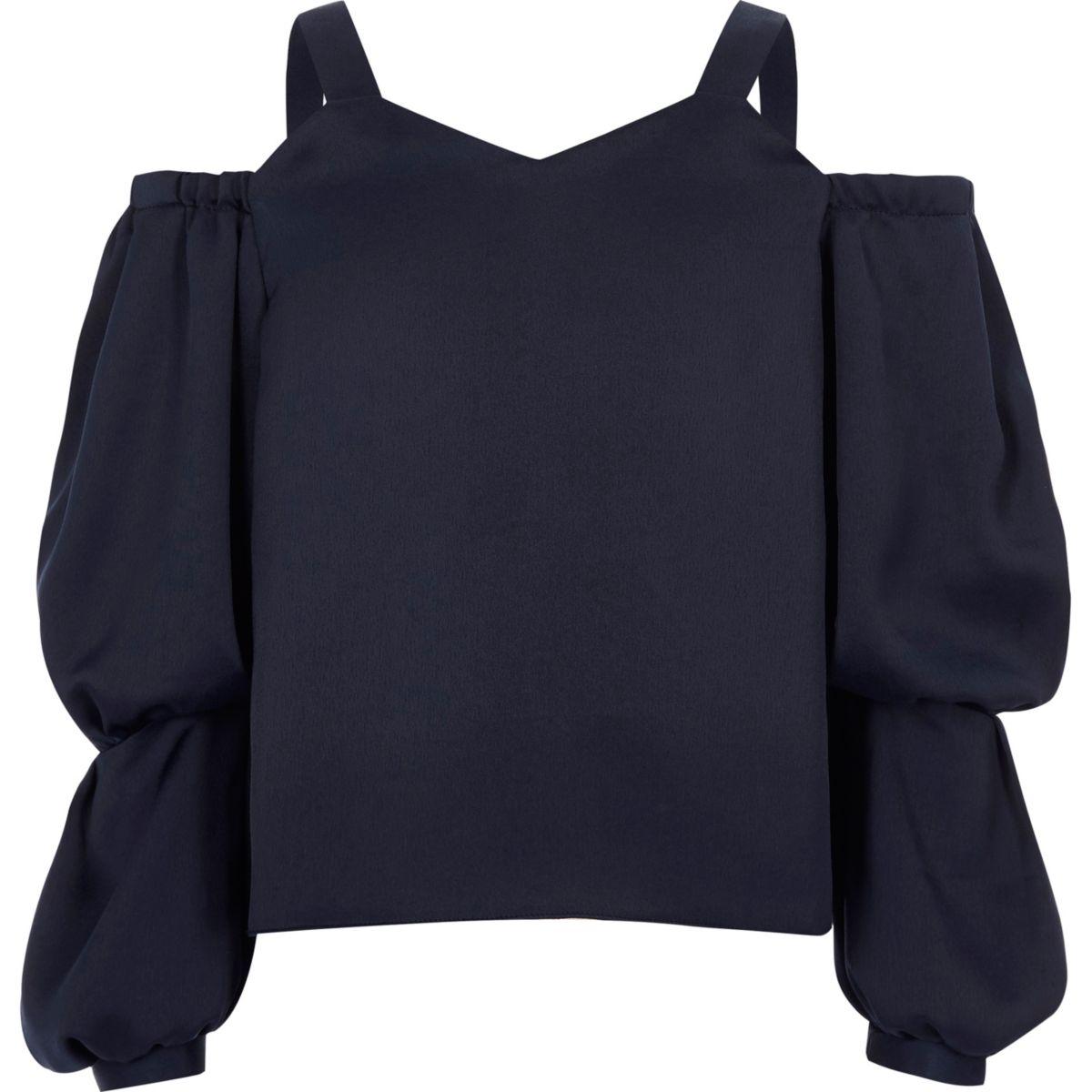 Girls navy long sleeve cold shoulder top