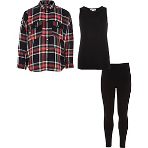 Girls red check shirt and tank top outfit