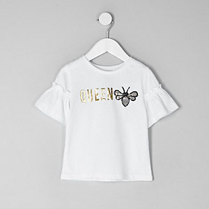 Mini girls white gold 'queen' bee T-shirt