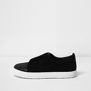 Girls black glitter studded slip on plimsolls