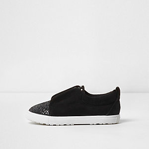 Mini girls black glitter slip on plimsolls